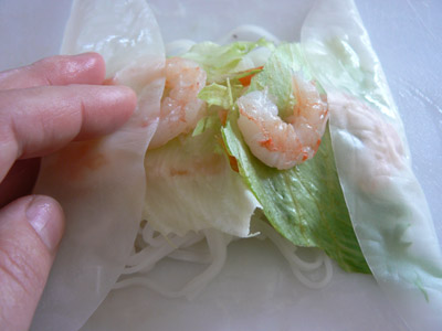 fold the ends of the rice paper