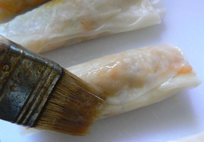 brush rice paper to seal